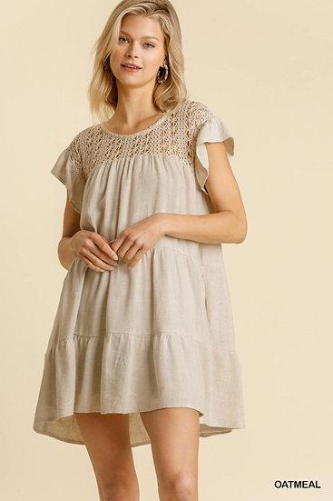 Record Beauty Oatmeal Crochet Tunic Dress