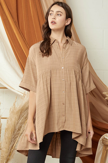 Walk This Way Cocoa Button Up Tunic