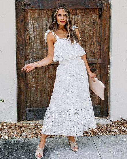 Precious Intrigue White Eyelet Midi Dress