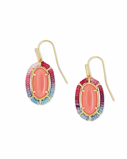 Threaded Lee Gold Drop Earrings In Coral Illusion