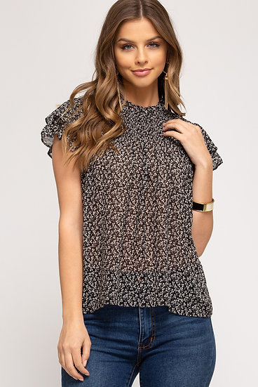 Hear Your Call Black Floral Top