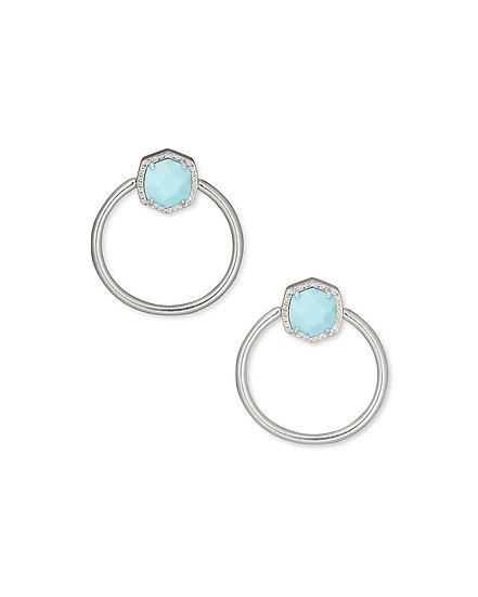Davie Hoop Earring In Rhodium Light Blue Magnesite
