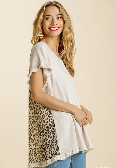 Double The Fun Oatmeal Leopard Top