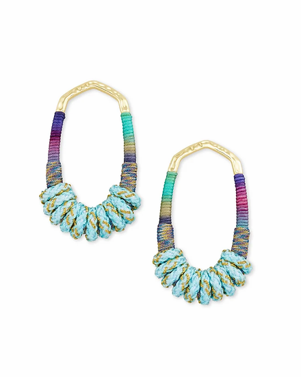 Masie Gold Open Frame Earrings In Mint Mix Paracord