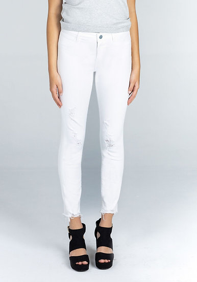 Carly Crop Distressed Skinny Jean - White (Articles of Society)