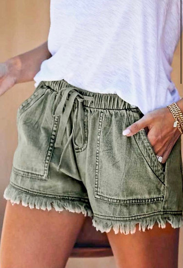 Distressed Olive Shorts