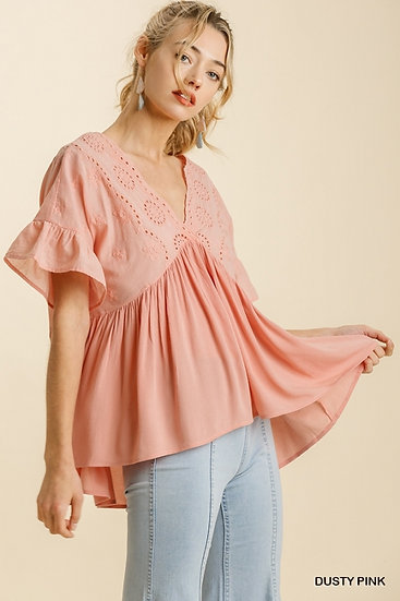 South Bound Dusty Pink Eyelet Babydoll Top