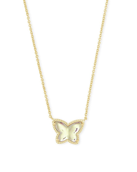 Lillia Butterfly Pendant Necklace In Gold Dichroic Glass