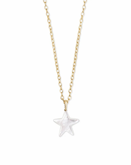 Carved Jae Star Gold Long Pendant Necklace In Ivory Mother-Of-Pearl