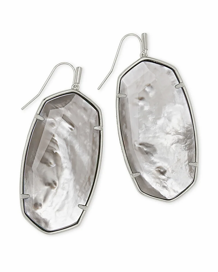 Faceted Danielle Silver Statement Earrings In Gray Illusion