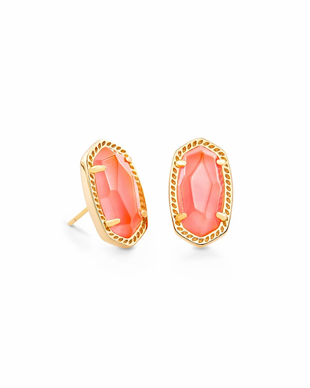 Ellie Gold Stud Earrings In Coral Illusion