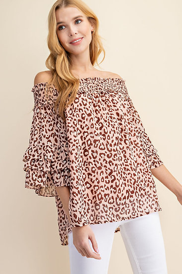 It's Your Turn Blush Leopard Off Shoulder Blouse