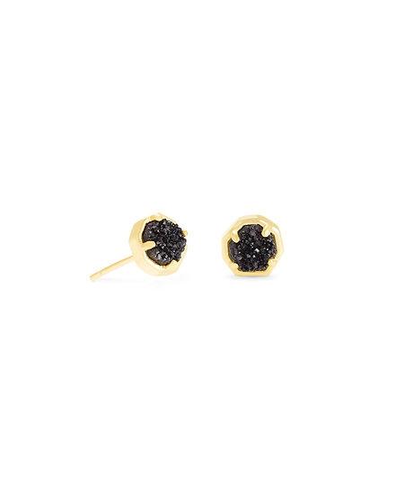 Nola Gold Stud Earring In Black Drusy