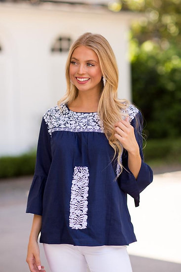 Navy Blue/White Embroidered 3/4 Sleeve Top