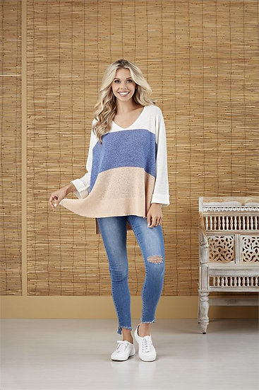 Always Getting Better Blue Colorblock Sweater