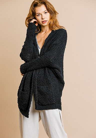 Black Open Front Oversized Cardigan Sweater With Pockets