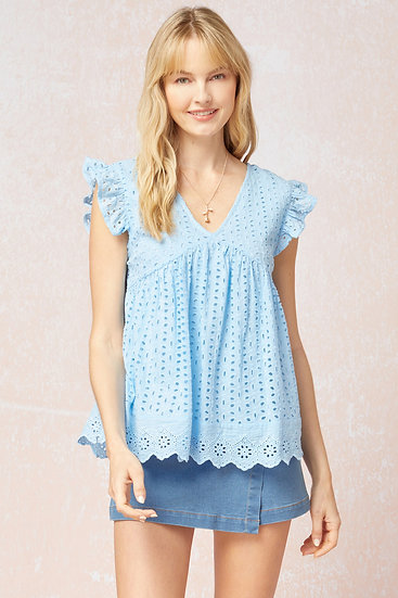 Social Butterfly Blouse - Baby Blue