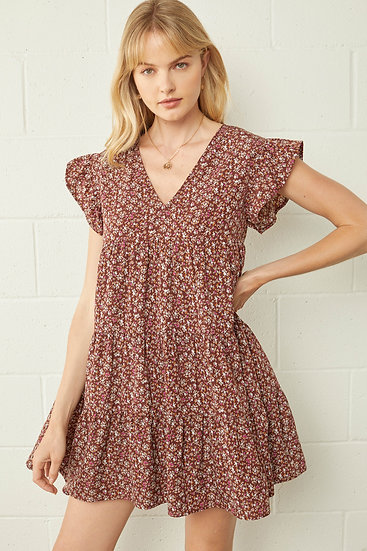 Floral Gardens Dress In Chocolate