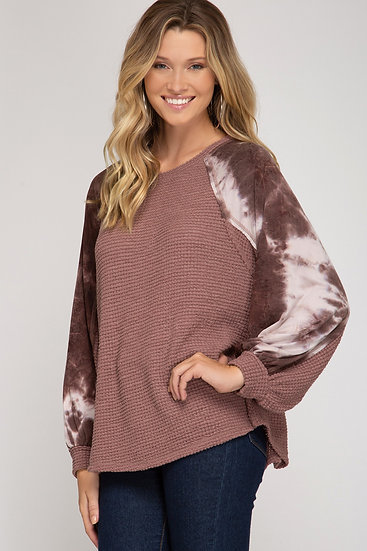 Give Me Joy Waffle Knit Sweater- Red Bean