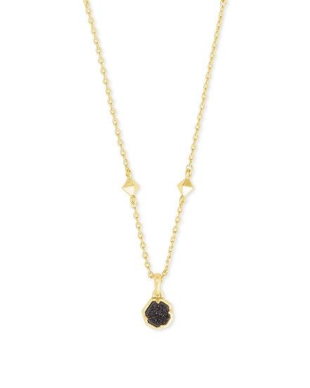 Nola Gold Short Necklace In Black Drusy