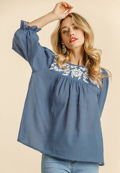 All Things Possible Light Denim Embroidered Top