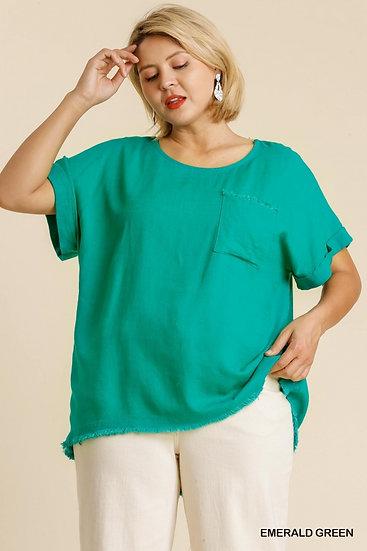 Sweet Days Emerald Green Linen Top