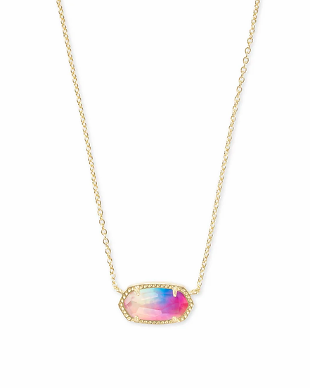 Elisa Gold Pendant Necklace In Watercolor Illusion