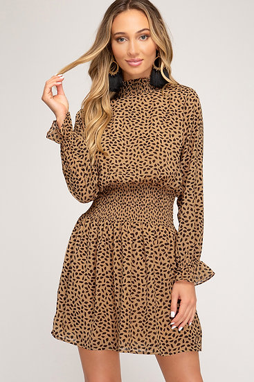 Our Right Here Right Now Dot Spotted Smocked Dress - Camel