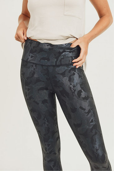 Camo Holographic Microdot Foil Highwaist Leggings - Army Black Print