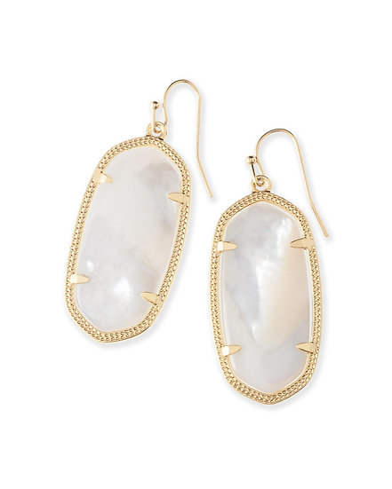 Elle Gold Drop Earrings In Ivory Mother-Of-Pearl