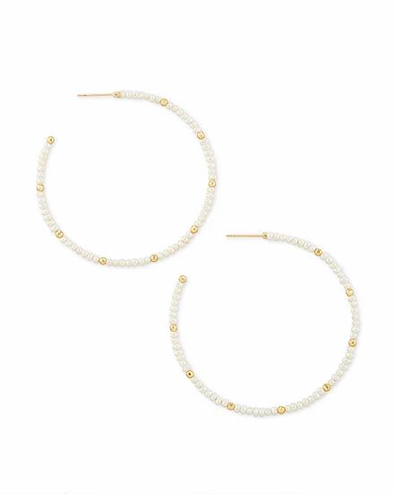 Scarlet Gold Hoop Earrings In White Pearl