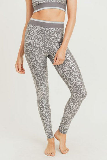 Silver Foil Leopard Print Highwaist Leggings with Striped Band