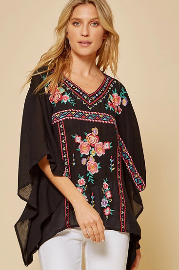 Forever Young Black Embroidered Top