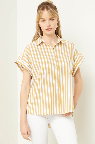Take Me To Greece Straw Striped Button Up Top