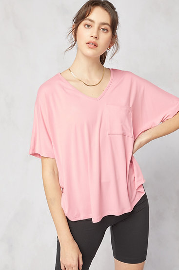 On The Lookout Rose Pocket Top