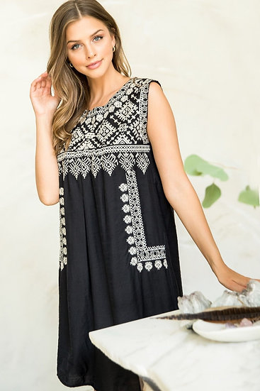 All Up To Me Black Embroidered Dress