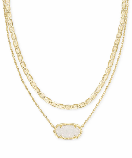 Elisa Gold Multi Strand Necklace In Iridescent Drusy