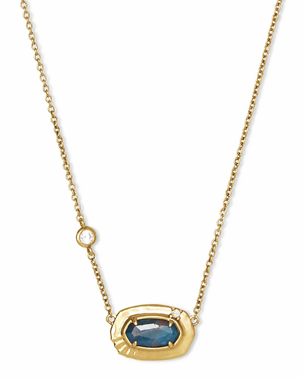 Anna Vintage Gold Pendant Necklace In Teal Apatite