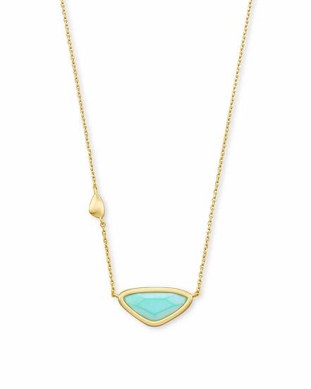 Margot Gold Pendant Necklace In Matte Iridescent Mint