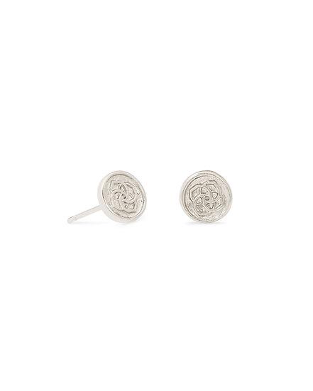 Dira Coin Stud Earrings In Rhod Metal