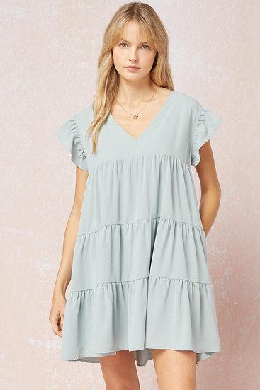 Chic Instincts Sea Green Babydoll Dress