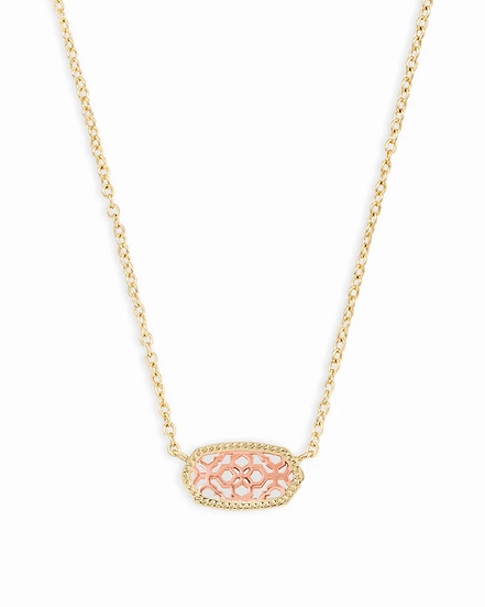 Elisa Gold Pendant Necklace In Rose Gold Filigree
