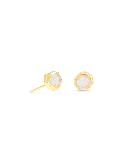 Nola Gold Stud Earring In White Opal Illusion