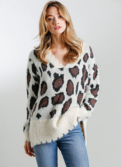 Alpha Long Sleeve Knit Leopard Sweater - Cream Mix