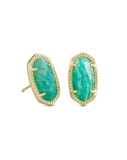 Ellie Gold Stud Earrings In Dark Teal Amazonite