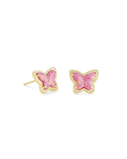 Lillia Butterfly Stud Earring In Gold Rose Pink Opal