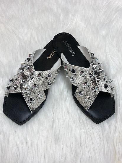 Look Sharp Snake Studded Sandals