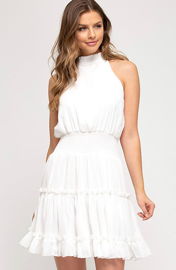 On The Right Foot White Smocked Dress