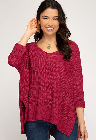 Reasons To Fall Hi Low Knit Sweater - Berry