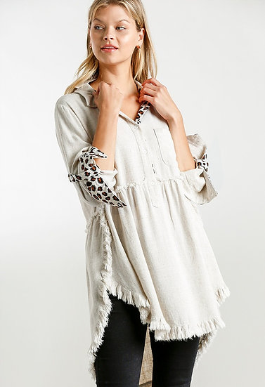 Sassy Leopard Button Tunic - Oatmeal